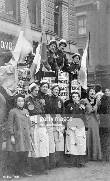 Ada Flatman 1909 Second from the right on a demonstration possibly in Liverpool Included in the photograph are suffragette exprisoners some of whom...