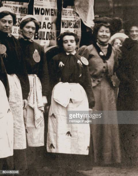 Ada Flatman British suffragette at a demonstration she organised in Liverpool 1909 Ada Flatman is second from the right The women in uniform are...