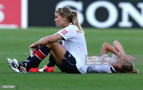 Ada Hegerberg and Caroline Hansen of Norway looks dejected after the FIFA U20 Women's World Cup 2012 group C match between Korea DPR and Norway at...