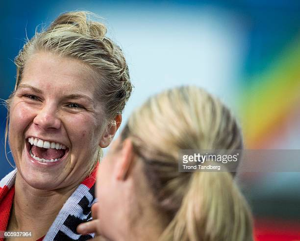 Ada Hegerberg Andrine Hegerberg of Norway celebrate after the UEFA Womens Euro2017 Qualifier match between Norway and Kazakhstan at Aker Stadion on...