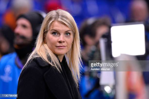 Ada Hegerberg attends the UEFA Champions League Round of 16 First Leg match between Olympique Lyonnais and FC Barcelona at Groupama Stadium on...