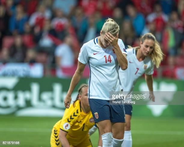 Ada Hegerberg Ingrid Schjelderup of Norway during the UEFA Womens«s Euro between Norway v Denmark at Stadion De Adelaarshorst on July 24 2017 in...