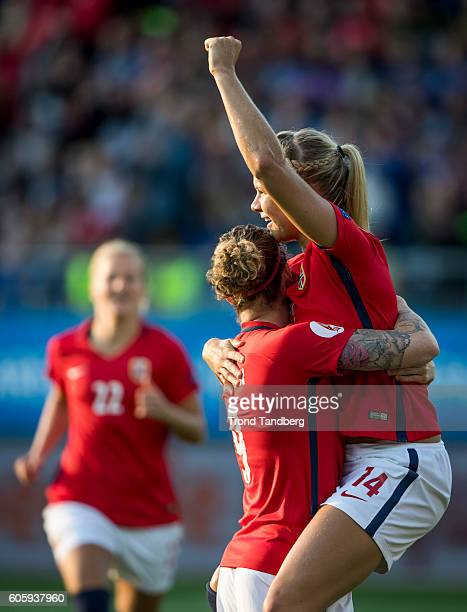 Ada Hegerberg Isabell Herlovsen of Norway celebrate after the UEFA Womens Euro2017 Qualifier match between Norway and Kazakhstan at Aker Stadion on...