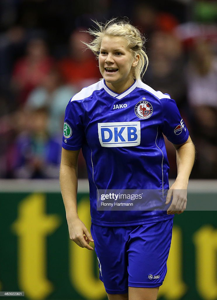 Ada Hegerberg of 1. FFC Turbine Potsdam celebrates during the DFB Women's Indoor Cup 2013 at GETEC-Arena on January 12, 2014 in Magdeburg, Germany.
