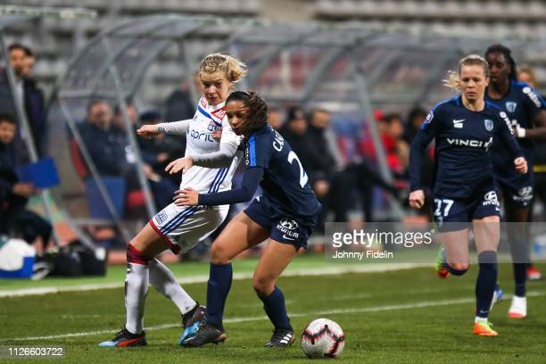 Ada Hegerberg of Lyon and Estelle Cascarino of Paris FC during the women's division 1 match between Paris FC and Lyon at Stade Charlety on February...