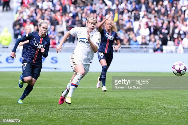 Ada Hegerberg of Lyon and Lisa Dahlkvist of PSG during the UEFA women's Champions League semifinal match between Olympique Lyonnais and Paris...