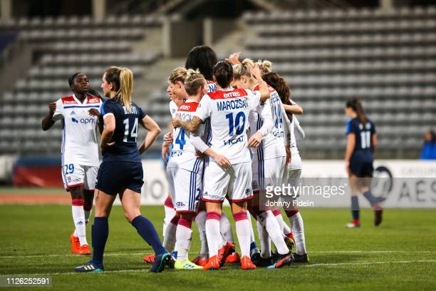 Ada Hegerberg of Lyon celebrate his goal with her teammates during the women's division 1 match between Paris FC and Lyon at Stade Charlety on...