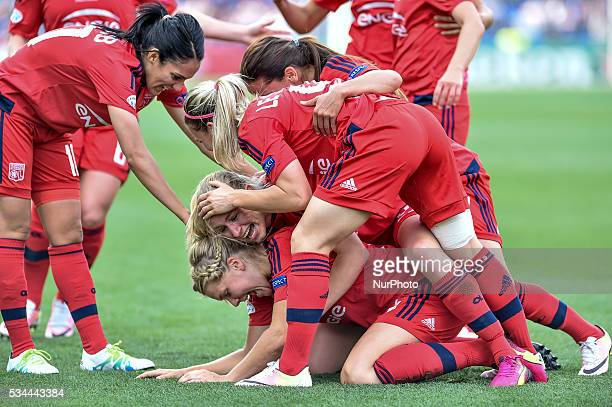 Ada Hegerberg of Lyon celebrates scoring her goal during the UEFA Women's Champions League Final between Wolfsburg Ladies and Lyon Ladies at Stadio...