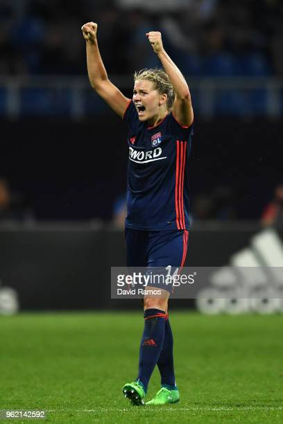 Ada Hegerberg of Lyon celebrates scoring her sides third goal during the UEFA Womens Champions League Final between VfL Wolfsburg and Olympique...