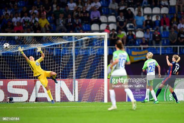 Ada Hegerberg of Lyon scores her sides third goal during the UEFA Womens Champions League Final between VfL Wolfsburg and Olympique Lyonnais on May...