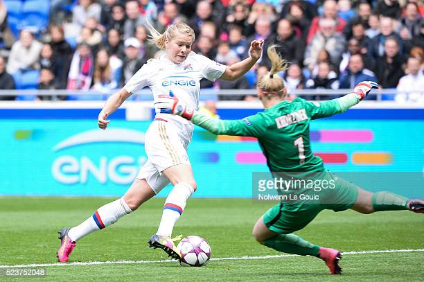 Ada Hegerberg of Lyon scores the first goal during the UEFA women's Champions League semifinal match between Olympique Lyonnais and Paris...