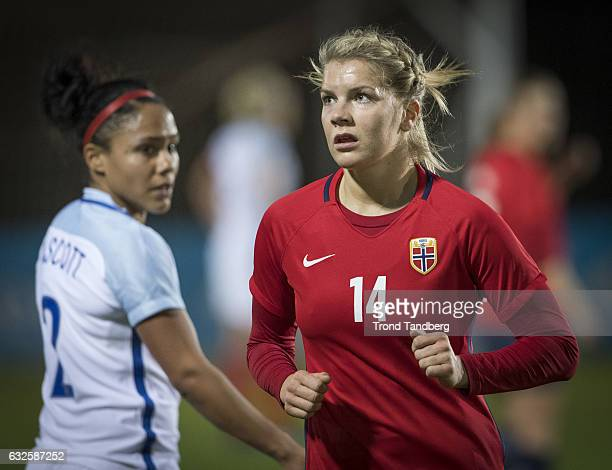 Ada Hegerberg of Norway Alexandra Scott of England during the Women International Friendly Match between Norway and England at La Manga Club on...