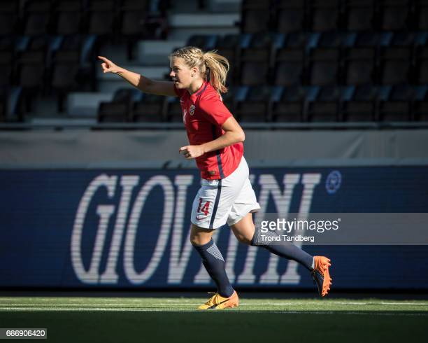 Ada Hegerberg of Norway celebrates goal during International Friendly match between Norway v Switzerland at Skagerak Arena on April 10 2017 in Skien...