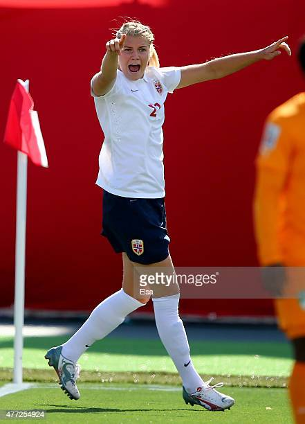 Ada Hegerberg of Norway celebrates her goal in the first half against Ivory Coast during the FIFA Women's World Cup 2015 Group B match at Moncton...