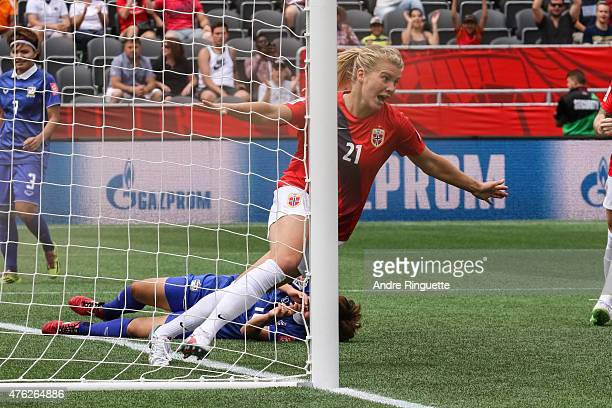 Ada Hegerberg of Norway celebrates her second half goal against Thailand during the FIFA Women's World Cup Canada 2015 Group B match between Norway...