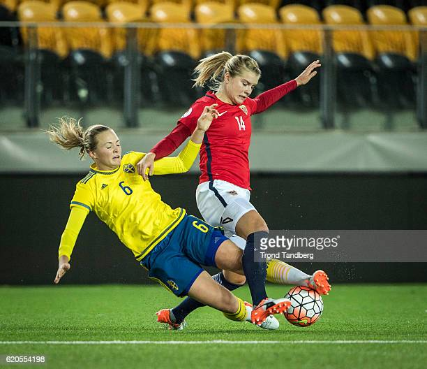 Ada Hegerberg of Norway Magdalene Eriksson of Sweden during Norway v Sweden Women International Friendly at S¿r Arena on October 24 2016 in...