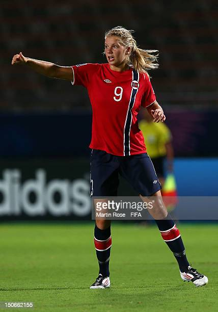 Ada Hegerberg of Norway reacts during the FIFA U20 Women's World Cup 2012 group C match between Norway and Canada at Kobe Universiade Memorial...