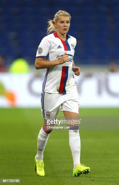 Ada Hegerberg of Olympique Lyon in action during the Women's Champions League match between Lyon and Wolfsburg at Stade de Lyon on March 29 2017 in...
