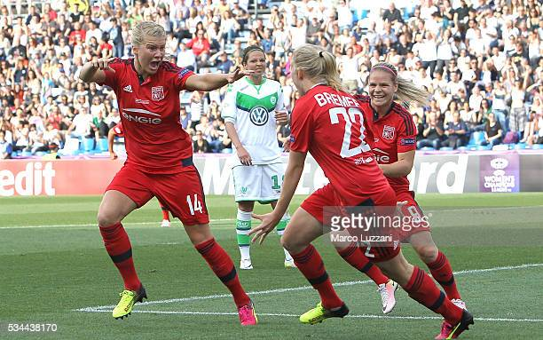 Ada Hegerberg of Olympique Lyonnais celebrates after scoring the opening goal during the UEFA Women's Champions League Final VfL Wolfsburg and...