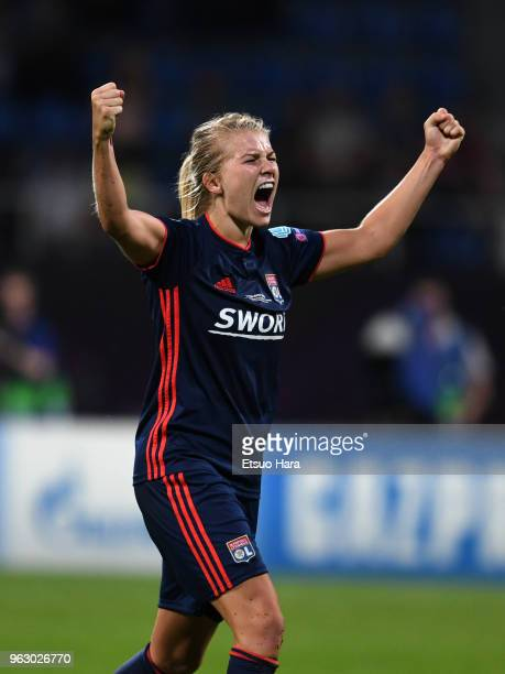 Ada Hegerberg of Olympique Lyonnais celebrates after the UEFA Womens Champions League Final between VfL Wolfsburg and Olympique Lyonnais on May 24...