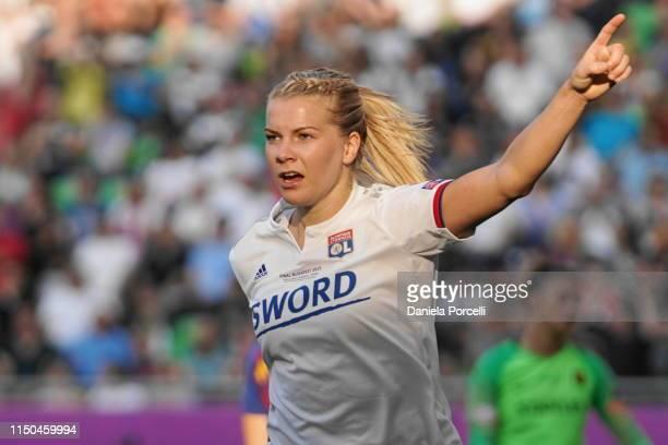 Ada Hegerberg of Olympique Lyonnais celebrates her goal during the UEFA Women's Champions League Final between Olympique Lyonnais and FC Barcelona...