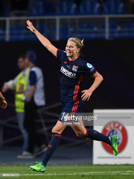 Ada Hegerberg of Olympique Lyonnais celebrates scoring her side's third goal during the UEFA Womens Champions League Final between VfL Wolfsburg and...