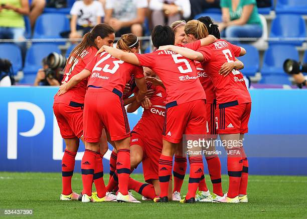 Ada Hegerberg of Olympique Lyonnais celebrates with team mates as she scores their first goal during the UEFA Women's Champions League Final match...