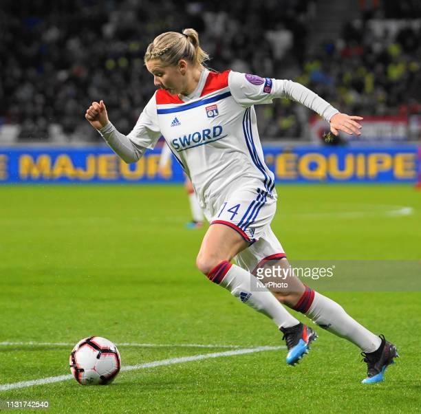 Ada Hegerberg of Olympique Lyonnais on the run during the UEFA Women's Champions League Quarter final football match between Olympique Lyonnais and...