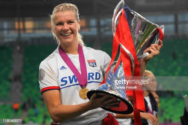 Ada Hegerberg of Olympique Lyonnais posing with the trophy during the UEFA Women's Champions League Final between Olympique Lyonnais and FC Barcelona...