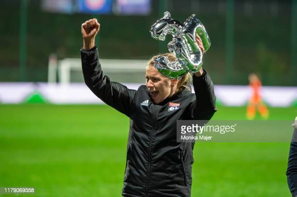 Ada Hegerberg of Olympique Lyonnais reacts after the UEFA Women's Champions League round of 16 match between Olympique Lyon and Fortuna Hjorring at...