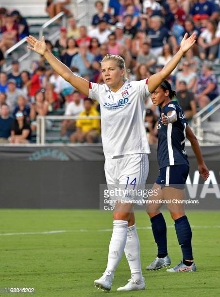 Ada Hegerberg of Olympique Lyonnais reacts against North Carolina Courage during the International Champions Cup championship match at WakeMed Soccer...