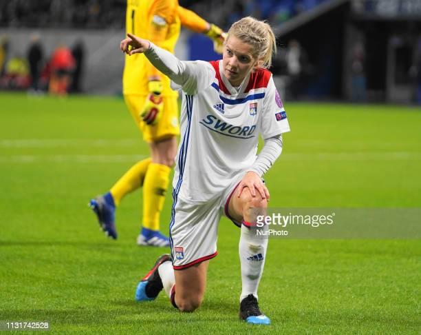 Ada Hegerberg of Olympique Lyonnais showing for the corner kick during the UEFA Women's Champions League Quarter final football match between...