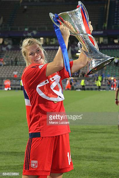 Ada Hegerberg of Olympique Lyonnais with the trophy at the end of the UEFA Women's Champions League Final VfL Wolfsburg and Olympique Lyonnais...