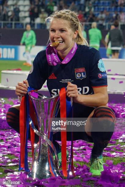 Ada Hegerberg of Olympique Lyonnais with Trophy After the UEFA Women's Champions League Final match between VFL Wolfsburg and Olympique Lyonnais at...