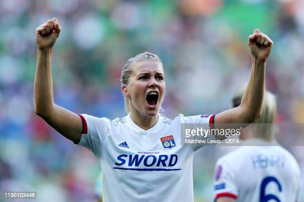 Ada Hegerberg of Olympique Lyonnais Women celebrates scoring her third and her sides fourth goal during the UEFA Women's Champions League Final...
