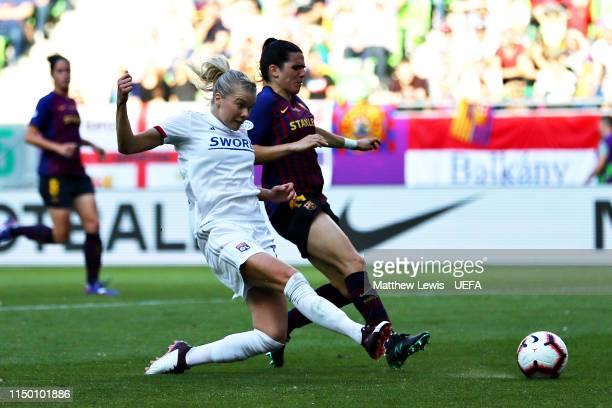 Ada Hegerberg of Olympique Lyonnais Women scores her sides second goal during the UEFA Women's Champions League Final between Olympique Lyonnais...