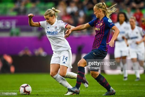Ada Hegerberg of Olympique Lyonnais women Stefanie van der Gragt of FC Barcelona women during the UEFA Women's Champions League final match between...
