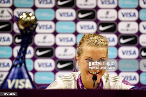 Ada Hegerberg of Olympique Lyonnais Women talks to the media after being presented with the Player of the Match award after the UEFA Women's...