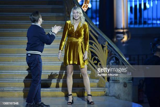 Ada Hegerberg of Sweden and Olympioque Lyonnais dances with French DJ Martin Solveig after she won the 2018 Ballon D'Or at Le Grand Palais on...