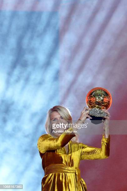 Ada Hegerberg of Sweden and Olympique Lyonnais wins the 2018 Ballon D'Or at Le Grand Palais on December 3 2018 in Paris France