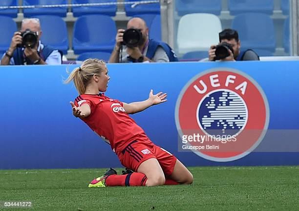 Ada Hegerberg of VfL Wolfsburg celebrates after scoring the opening goal during UEFA Women's Champions League Final between VfL Wolfsburg v Olympique...