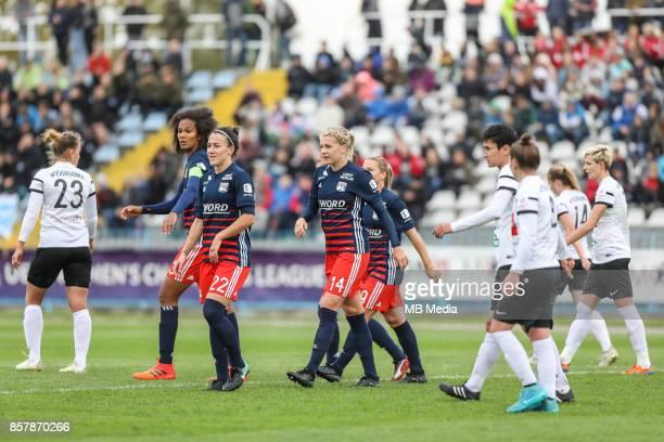 Ada Hegerberg Wendie Renard Lucia Bronze of Olympique celebrate a goal during the UEFA Women's Champions League match between KKPK Medyk Konin and...