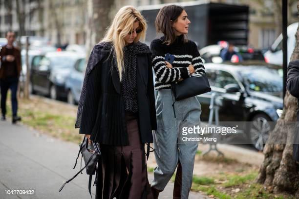 Ada Kokosar and Diletta Bonaiuti is seen outside Loewe during Paris Fashion Week Womenswear Spring/Summer 2019 on September 28 2018 in Paris France