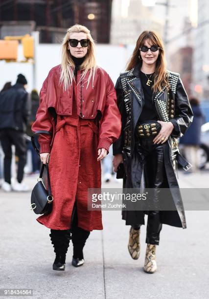 Ada Kokosar and Ece Sukan are seen outside the Esteban Cortazar show during New York Fashion Week Women's A/W 2018 on February 14 2018 in New York...