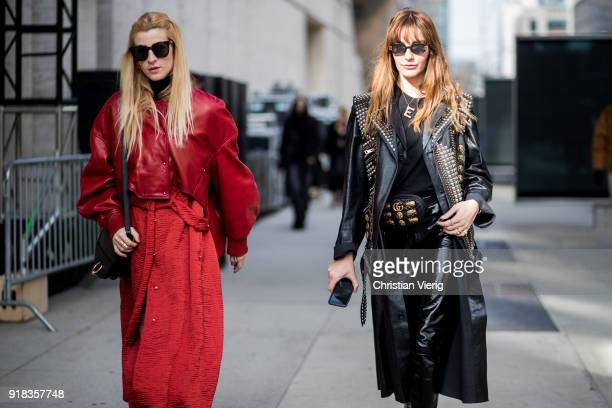 Ada Kokosar and Ece Sukan seen outside Michael Kors on February 14 2018 in New York City