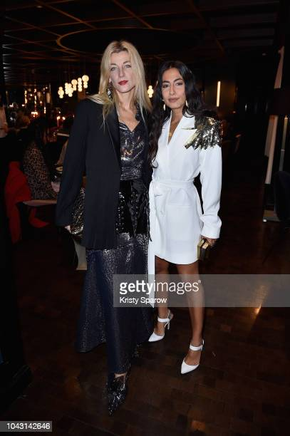 Ada Kokosar and Nausheen Shah attend a dinner hosted by Yasmin Sewell and Ghizlan Guenez during Paris Fashion Week celebrating the recent partnership...