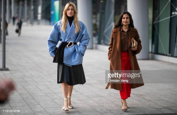 Ada Kokosar and Nausheen Shah is seen outside Alberta Ferretti on Day 1 Milan Fashion Week Autumn/Winter 2019/20 on February 20 2019 in Milan Italy