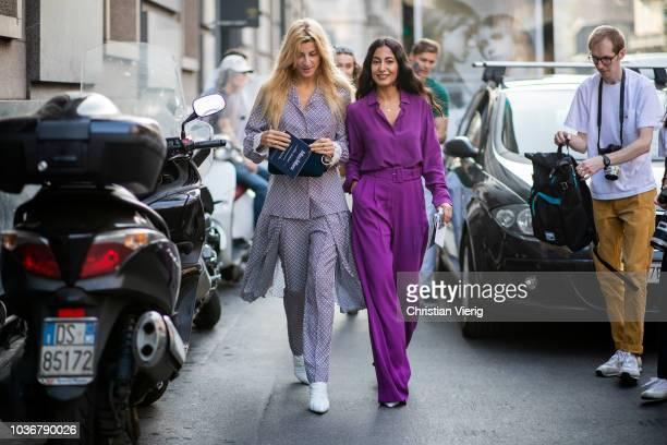 Ada Kokosar and Nausheen Shah wearing purple overall seen outside Max Mara during Milan Fashion Week Spring/Summer 2019 on September 20 2018 in Milan...