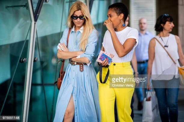 Ada Kokosar and Tamu McPherson seen outside Alberta Ferretti during Milan Men's Fashion Week Spring/Summer 2019 on June 15 2018 in Milan Italy