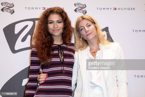 Ada Kokosar and Zendaya attend the launch of the Collection TommyXZendaya on October 03 2019 in Milan Italy